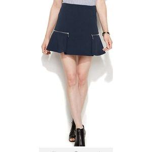 Michael Kors Navy Blue Flounce Zipper Mini Skirt
